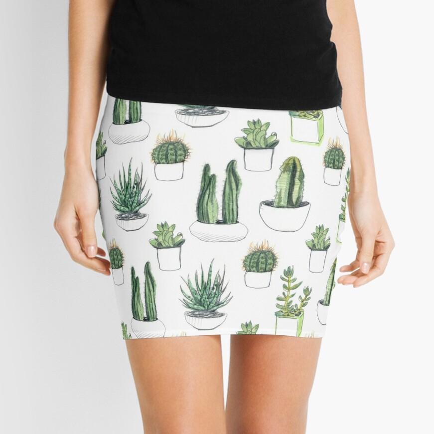 Watercolour cacti & succulents Mini Skirt