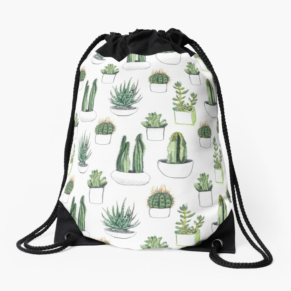 Watercolour cacti & succulents Drawstring Bag