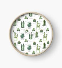 watercolour cacti and succulents Clock