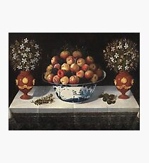 Hiepes, Tomas - Delft Fruit Bowl And Two Vases Of Flowers Photographic Print