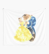 Watercolour Grunge of Beauty and The Beast (with transparency) Wall Tapestry