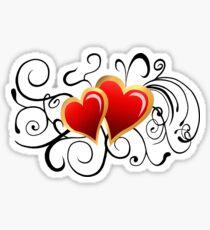 Red Hearts with Swirls Sticker