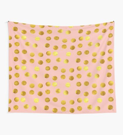 Gold and pink dots Wall Tapestry