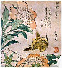 Hokusai Katsushika - Peony And Canary  Poster