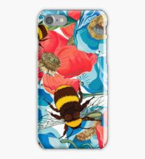 Seamless pattern with poppies, flower narcissus and bumblebee  iPhone Case/Skin