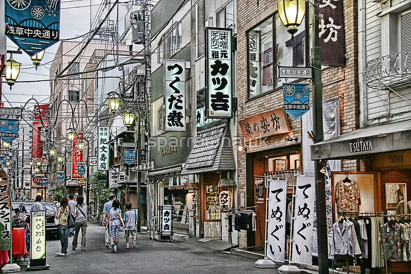 tokyo   street scene by day ii posters by sparrowhawk
