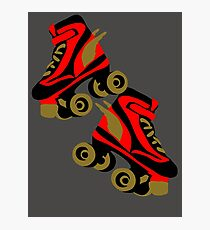 Cool golden roller skates Roller Derby Photographic Print