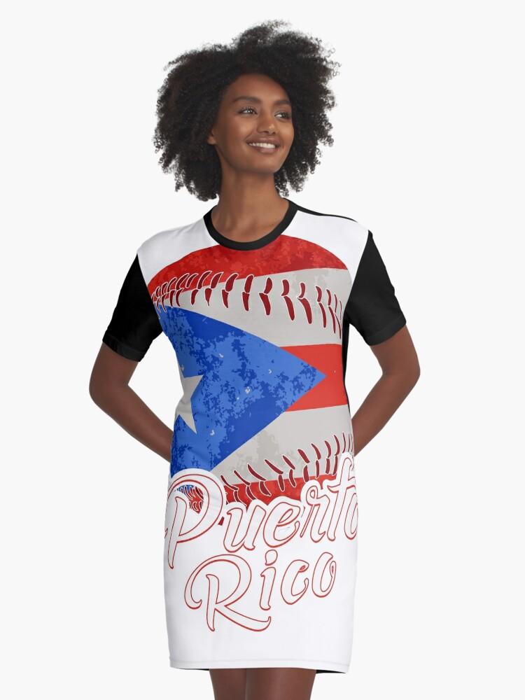 Vestidos camiseta «Camiseta de la bandera de béisbol de Puerto Rico ...