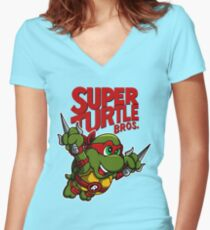 Super Turtle Bros - Raph Women's Fitted V-Neck T-Shirt