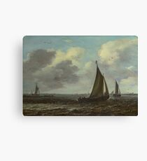 Imitator Of Jan Van Goyen - Sailing Vessels On A River In A Breeze Canvas Print