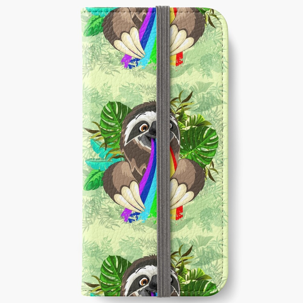 Sloth Spitting Rainbow Colors iPhone Wallet