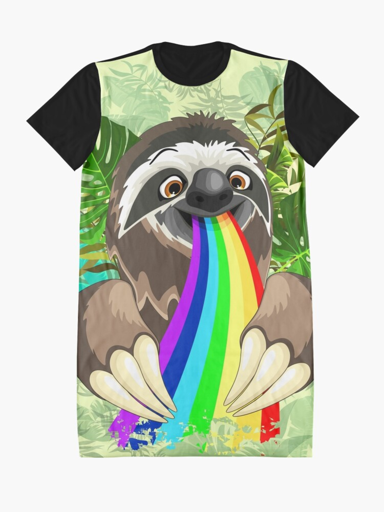 Alternate view of Sloth Spitting Rainbow Colors Graphic T-Shirt Dress