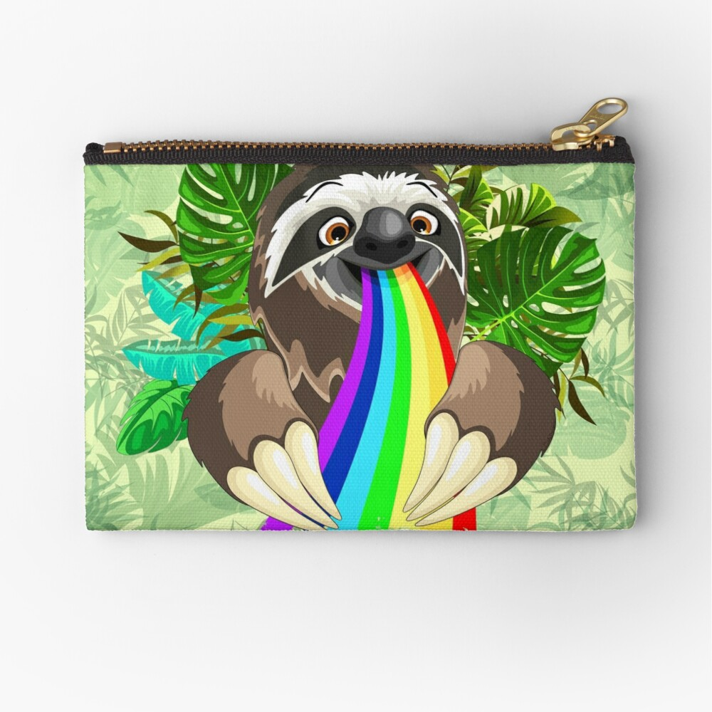 Sloth Spitting Rainbow Colors Zipper Pouch