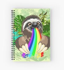 Sloth Spitting Rainbow Colors Spiral Notebook