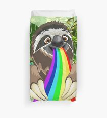 Sloth Spitting Rainbow Colors Duvet Cover