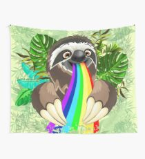 Sloth Spitting Rainbow Colors Wall Tapestry