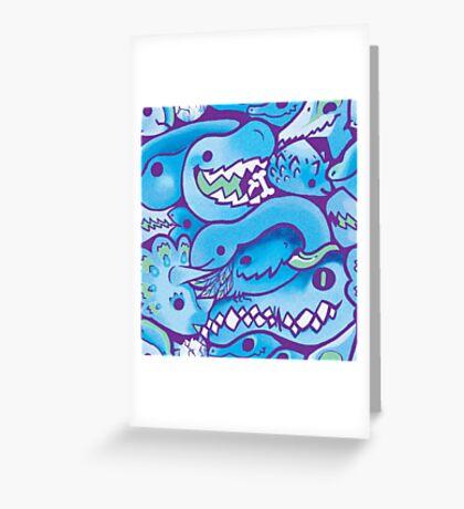 Dinosaur Pattern in Blue Greeting Card