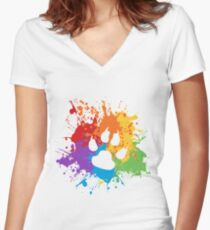 Paw Pride: Light Women's Fitted V-Neck T-Shirt
