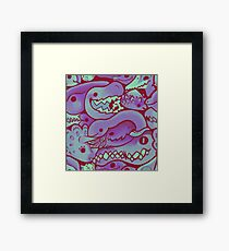 Dinosaur Pattern in purple Framed Print