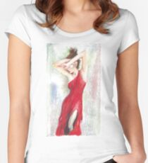 Oil Pastel on Canvas Women's Fitted Scoop T-Shirt