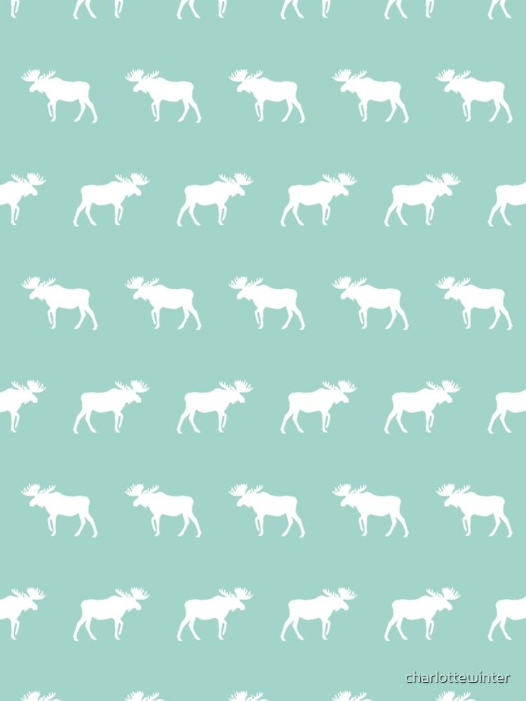 Moose mint minimal nursery baby art pattern design gender neutral home decor by charlottewinter