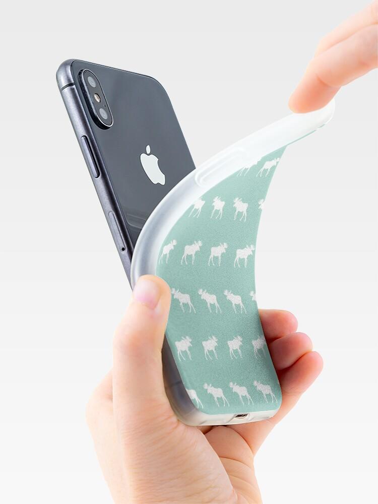 Alternate view of Moose mint minimal nursery baby art pattern design gender neutral home decor iPhone Case & Cover