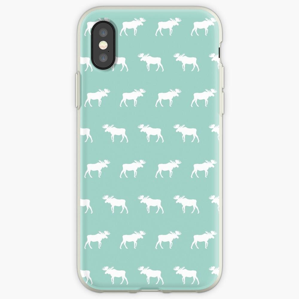Moose mint minimal nursery baby art pattern design gender neutral home decor iPhone Case & Cover
