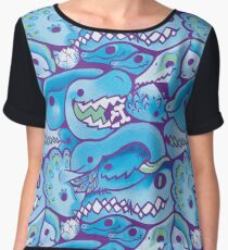 Dinosaur Pattern in Blue Chiffon Top