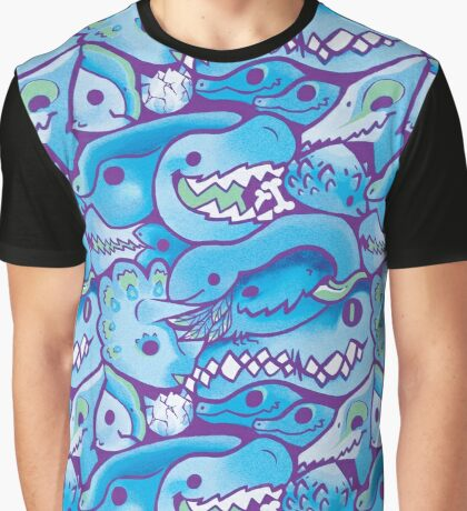Dinosaur Pattern in Blue Graphic T-Shirt