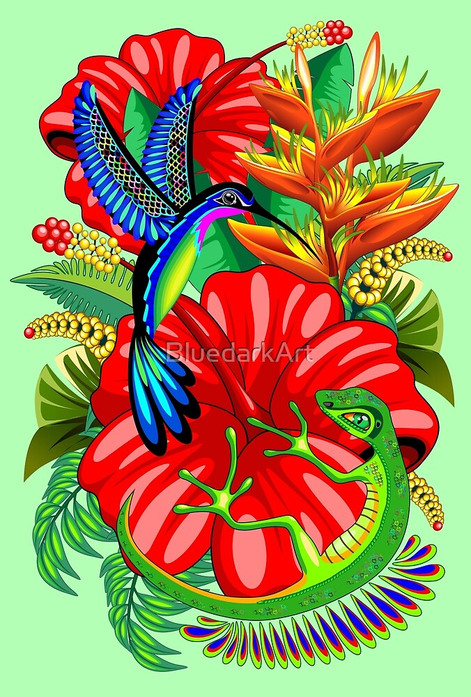 The Lizard, The Hummingbird and The Hibiscus by BluedarkArt