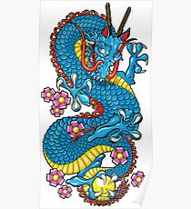 Blue Cherry Blossom Dragon Tattoo in White Poster