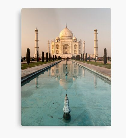 Taj Mahal Reflection India Metal Print