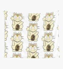 Meowth Lucky Cat Wall Tapestry