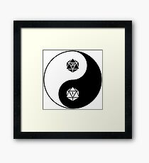 Yin Yang d20 Dungeons and Dragons Dice RPG Tee Framed Print