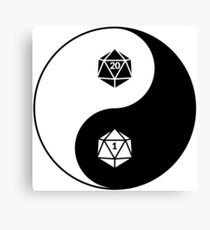 Yin Yang d20 Dungeons and Dragons Dice RPG Tee Canvas Print