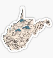 West Virginia Vintage Picture Map Sticker