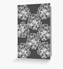 poppy graphic spring design nature illustration flower grey Greeting Card