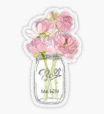 Pegatina transparente Flores en Mason Jar