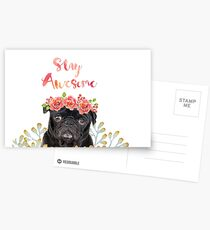 Stay Awesome Pug Postcards