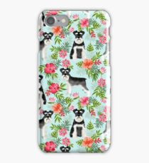 Schnauzer hawaii pattern floral hibiscus floral flower pattern palm leaves by PetFriendly iPhone Case/Skin