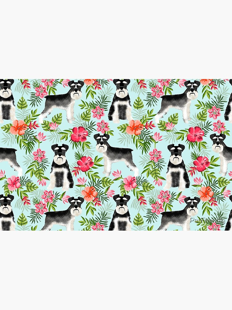 Schnauzer hawaii pattern floral hibiscus floral flower pattern palm leaves by PetFriendly by PetFriendly