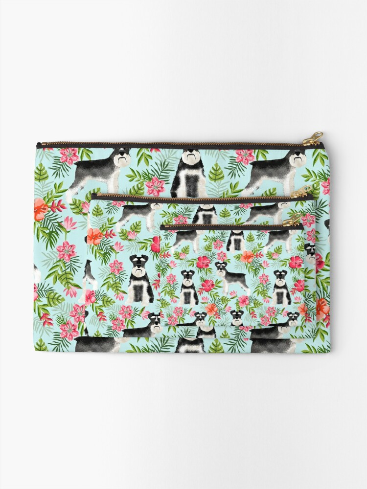Alternate view of Schnauzer hawaii pattern floral hibiscus floral flower pattern palm leaves by PetFriendly Zipper Pouch