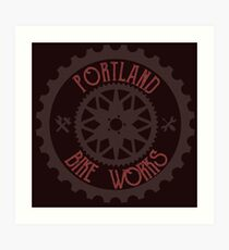 Portland Bike Works Art Print