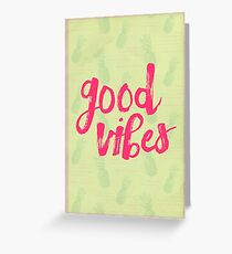 Good Vibes // Retro Vintage Green Pineapple Typography Poster and Pattern Greeting Card