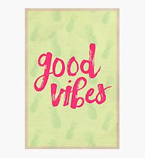 Good Vibes // Retro Vintage Green Pineapple Typography Poster and Pattern Photographic Print
