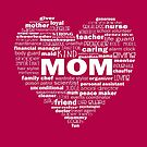 Mom - Words About Mom Heart - White by jitterfly