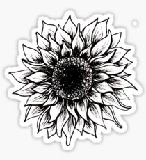 Black and White Sunflower Sticker