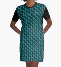 Teal Ribbon Tiled Pattern Graphic T-Shirt Dress