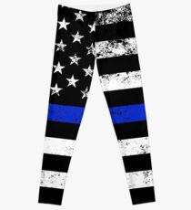 Police Styled Distressed Horizontal American Flag  Leggings