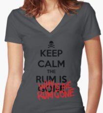 KEEP CALM - Keep Calm and Why Is The Rum Gone Women's Fitted V-Neck T-Shirt